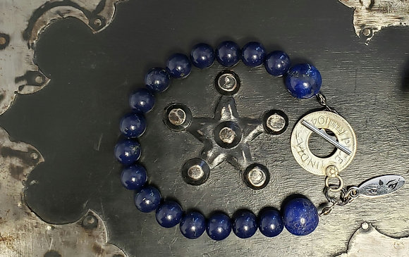 Lapis Lazuli Bracelet with Coin Toggle