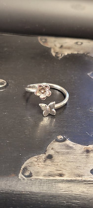 Cherry Blossom Butterfly Sterling Silver Ring