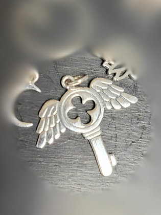 Sterling Silver Winged Key Charm