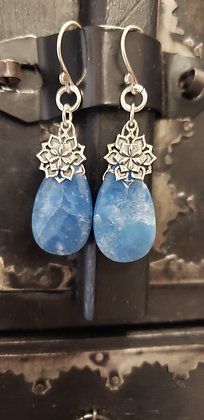 Sterling Silver Blue Lotus Mandala Earrings