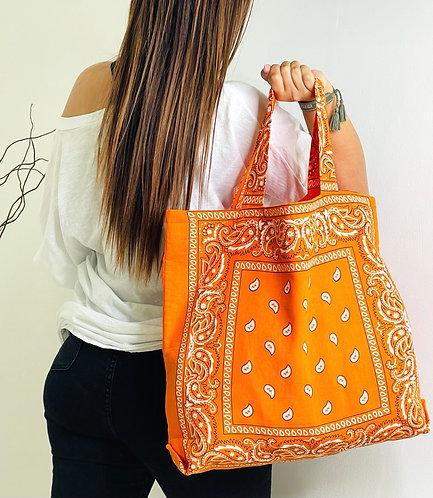 Tote-bag en coton imprimé bandana orange
