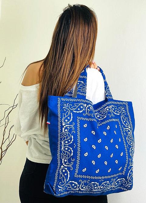 Tote-bag en coton imprimé bandana bleu
