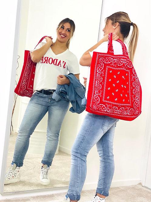 Tote-bag en coton imprimé bandana rouge