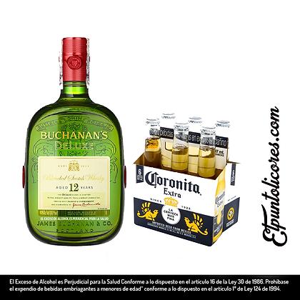 Buchanans Deluxe *750 ml + six pack coronita