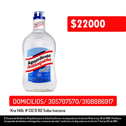 Aguardiente Antioqueño sin azúcar x 375 ml