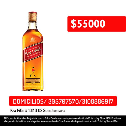 Whisky Jhonnie Walker red label botella x700ml