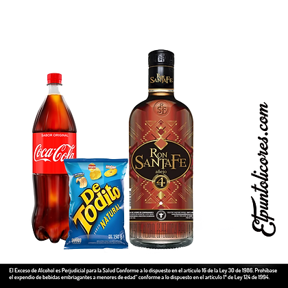 Ron Añejo Santafe X 750ml, Coca Cola X1.5L y Detodito