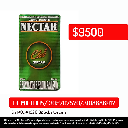 Aguardiente Nectar club 250ml