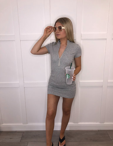 AMELIA Grey Mini Ribbed Zip Dress