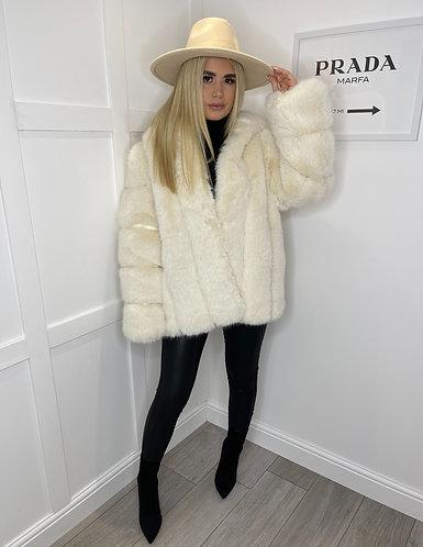 SAPPHIRE Premium Quality Faux Fur Cream Coat