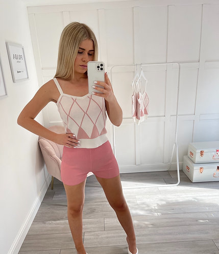 LEONA Check Baby Pink Top