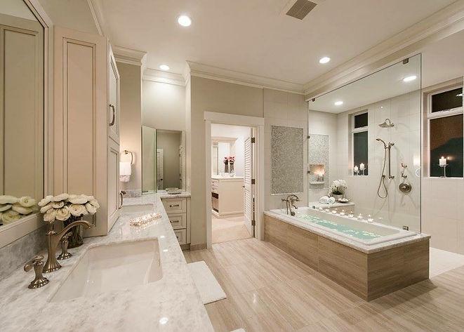 bathroom marble stone tile counters tub