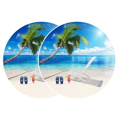 Retractable and ROLL UP Screen Door DECALS - Beach