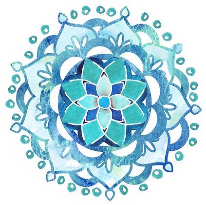 Glass Door Decals - Blue Mandala
