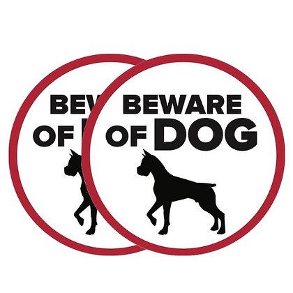 Retractable and ROLL UP Screen Door DECALS - Beware of Dog