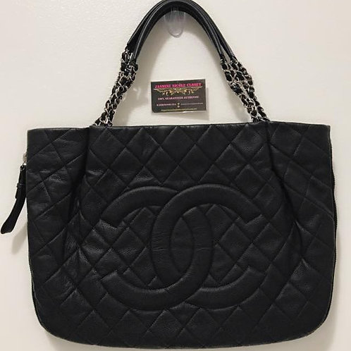 Pre Owned Rare Authentic CHANEL Caviar Quilted Expandable Zip Shoulder Bag Black
