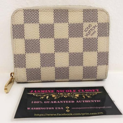Pre Owned Authentic LV zippy Coin Wallet Azur with CC slots
