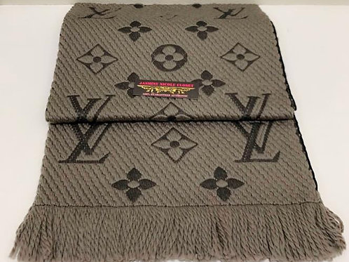 Brand NEW LV Logomania Scarf Gray