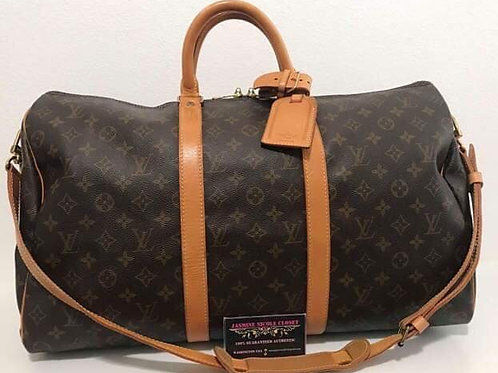 Pre Owned Authentic LV KEEPALL BANDOULIÈRE 50 Duffle Bag Mono