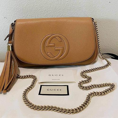 Gucci Soho Flap Nude Crossbody Bag