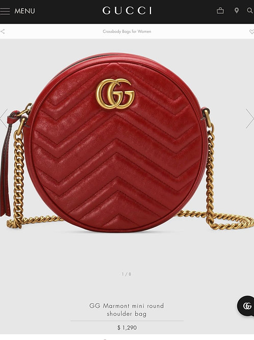 Brand New Gucci Marmont Mini Round Crossbody Bag