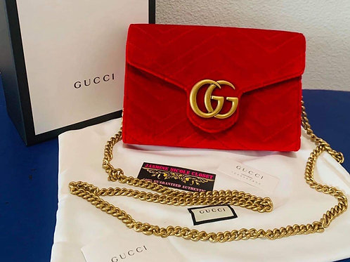 Brand New Gucci Marmont Velvet Red Wallet on Chain
