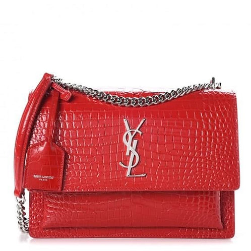 Brand New YSL Sunset Medium Croc Crossbody Bag Red