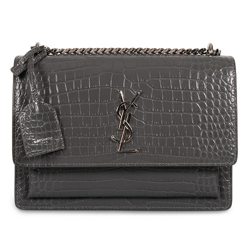 Brand New YSL Sunset Medium Croc Crossbody Bag Dark Grey