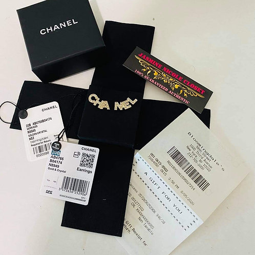 Brand New Chanel 20B Earrings Golden/Crystal