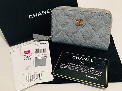 Brand New Chanel 20C Grey Zippy Wallet