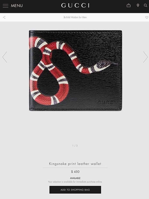 Authentic Gucci Men Wallet King Snake Black