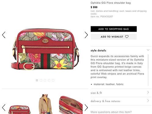 Brand New Gucci Ophidia GG Flora Mini Bag Crossbody Bag