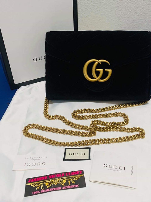 Brand New Gucci Marmont Velvet Black Wallet on Chain