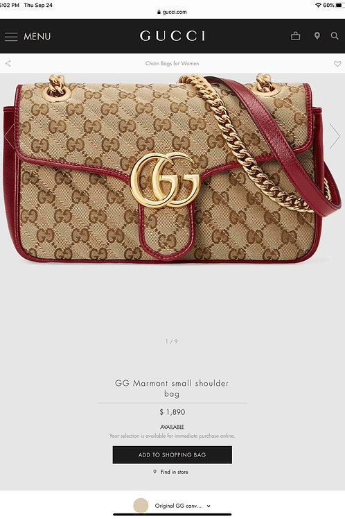 Brand New Gucci Marmont Canvas Crossbody Bag