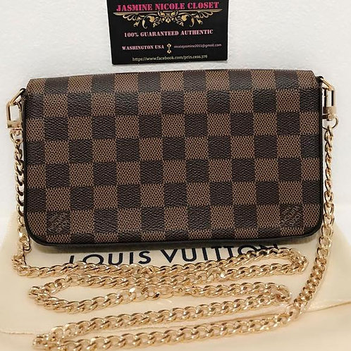 Brand New 2018 Rare Authentic LV Felicie Ebene with non 47 inches LV long gold s