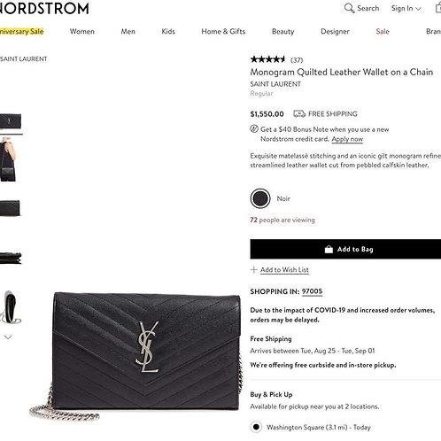 YSL Large WOC Crossbody Bag Balck with silver