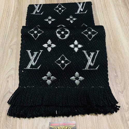 LV Logomania Black Shine Scarf
