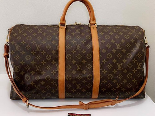 Pre Owned Rare Hard to Find Authentic LV Keepall 55 with Long strap