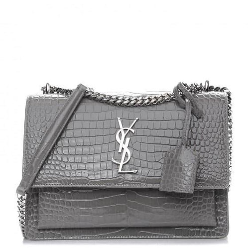 Brand New YSL Sunset Medium Croc Crossbody Bag