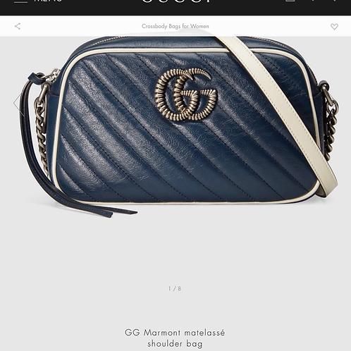 Gucci Marmont Blue Crossbody Bag