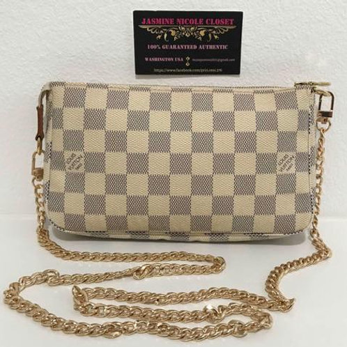 Pre Owned LV Pochette Bag Azur with Removable NON LV strap 46 inches