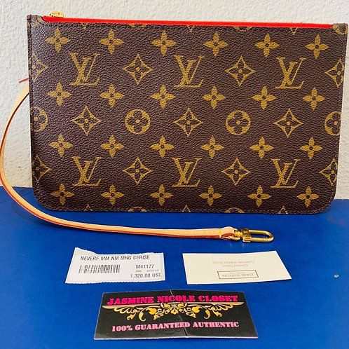 LV Neverfull Pouch MM / GM Mono Cerise