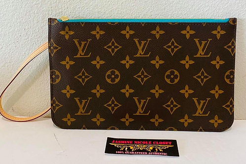Brand New LV Neverfull MM Turquoise Pouch