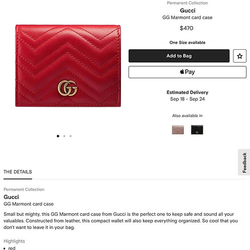Brand New Gucci Card Case Red