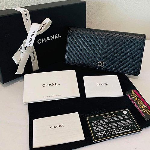 Chanel Chevron Black Wallet