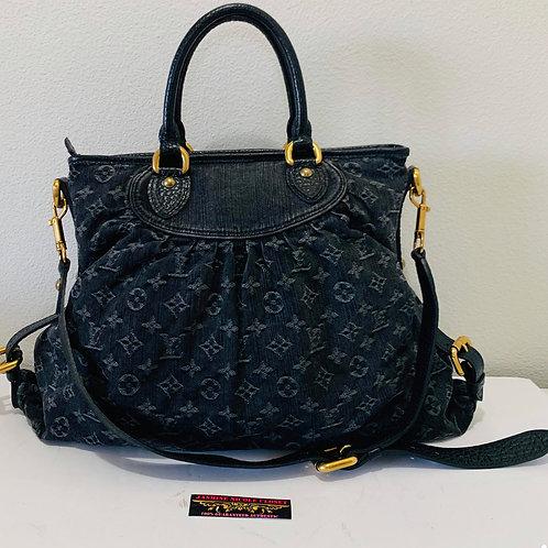 LV  Black Cabby  Denim Bag