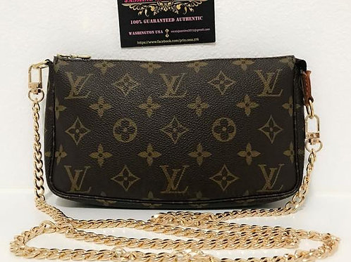 Pre Owned Louis Vuitton Pouchette Bag with Removable NON LV strap 46 inches to w