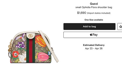 Brand New Gucci Ladies Ophidia