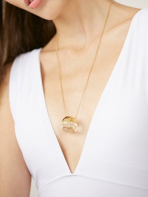 Single half orb necklace in Gold