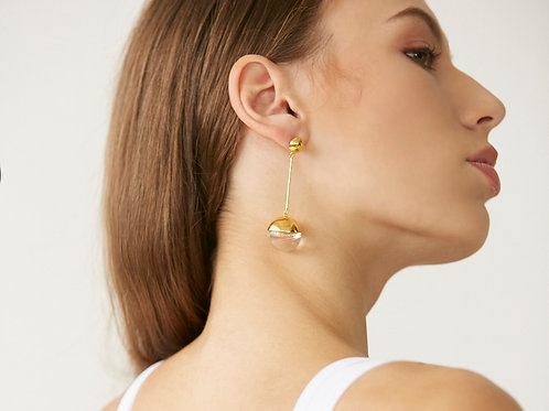 Half orb long earring in Gold